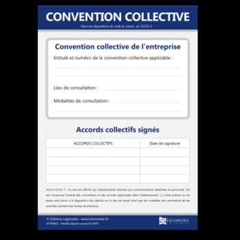 Panneau d'affichage de la convention collective