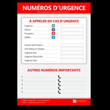 Panneau d'affichage des numéros d'urgence